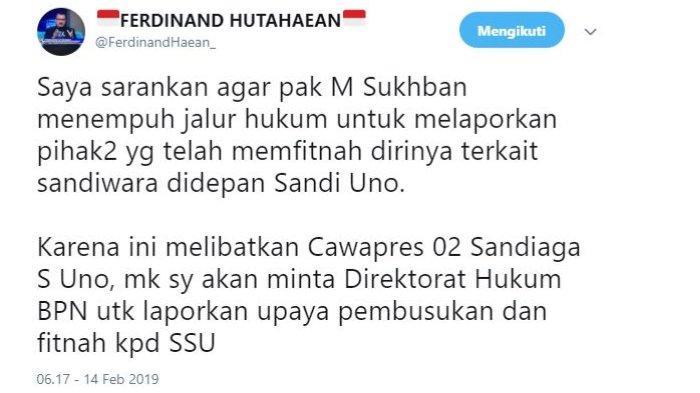 Juru Bicara Badan Pemenangan Nasional (BPN) Prabowo Subianto-Sandiaga Uno, Ferdinand Hutahaean memberikan tanggapannya atas ramainya pemberitaan terkait M Subkhan, sosok petani bawang yang berdialog dengan cawapres nmor urut 02 Sandiaga Salahuddin Uno.