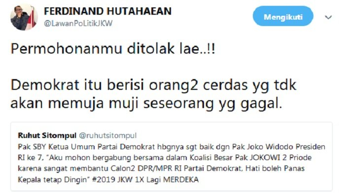 Cuitan Ferdinand Hutahaean