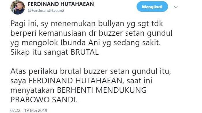 Kepala Divisi Advokasi dan Hukum Partai Demokrat, Ferdinand Hutahaean menyatakan berhenti mendukung pasangan calon presiden dan wakil presiden 02, Prabowo Subianto-Sandiaga Uno.