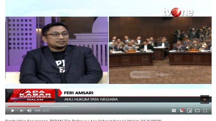 Ahli Hukum Tata Negara Feri Amsari memberikan komentarnya terkait isi permohonan gugatan sengketa hasil Pilpres 2019 yang diajukan kubu pasangan calon 02, Prabowo Subianto-Sandiaga Uno.