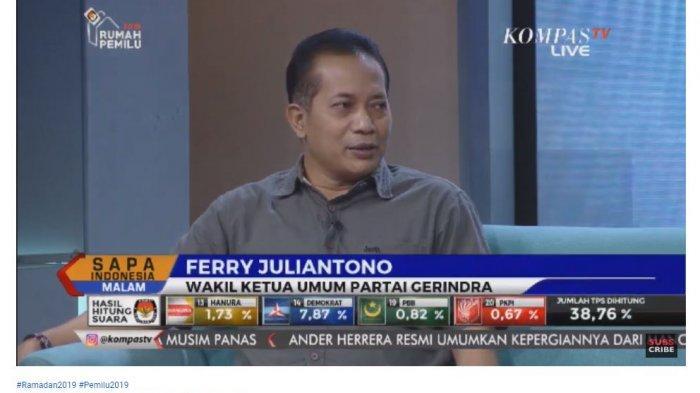 Wakil Ketua Umum Partai Gerindra Ferry Juliantono saat menjadi narasumber di Sapa Indonesia Malam KompasTV, Sabtu (11/5/2019).