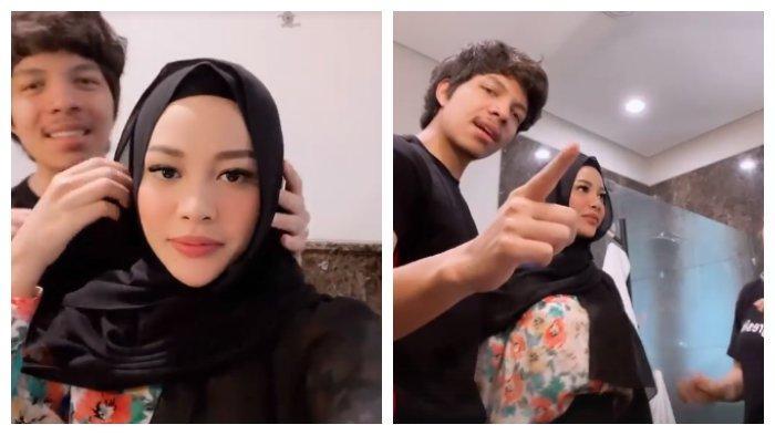 Kolase foto Aurel setelah dipakaikan kerudung oleh Atta Halilintar, Senin (19/4/2021).