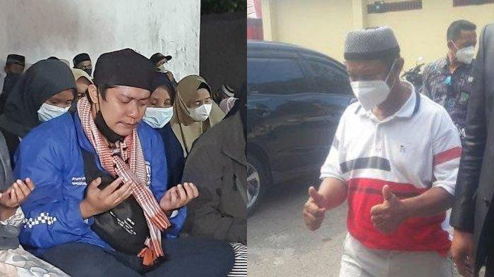 Foto kiri: Yoris, kakak Amalia menahan tangis saat doa bersama di Subang. Foto kanan: Yosef mengacungkan dua jempolnya ketika akan diperiksa di Satreskrim Polres Subang, Senin (13/9/2021).