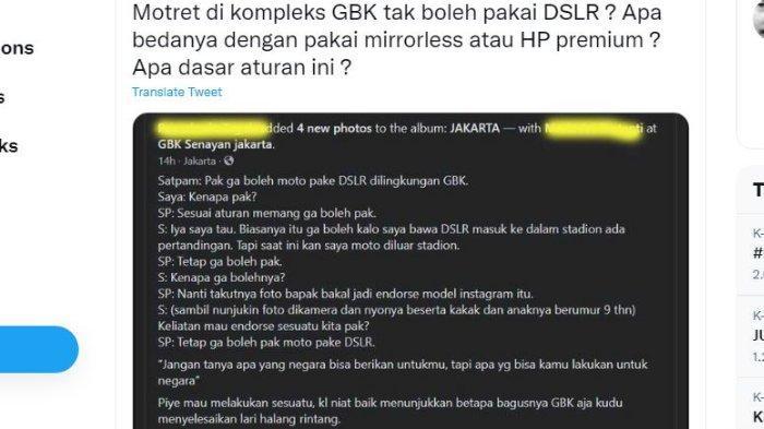Fotografer senior Arbain Rambey keluhkan larangan memotret pakai kamera DSLR di Stadion Gelora Bung Karno (GBK).