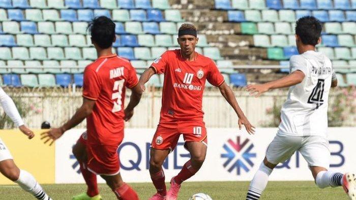 Gelandang Persija Jakarta, Bruno Matos saat menghadapi Shan United, Selasa (12/3/2019)