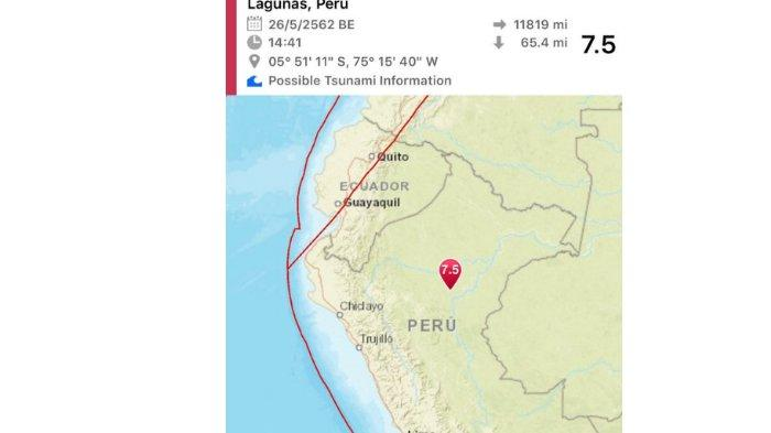 Gempa berkekuatan 8 skala richter telah melanda Peru utara.