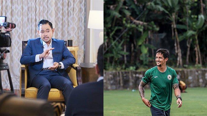 Bos Arema FC Gilang Widya (kiri) pada postingan Instagram @juragan_99 pada 7 Oktober 2021 danIrfan Bachdim saat berkostum PSS Sleman (kiri) pada 1 Juni 2021 pada postingan Instagram @ibachdim. Indikasi Irfan Bachdim gabung Arema FC muncul dari sang Presiden Singo Edan.