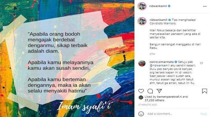 Gubernur Jawa Barat Ridwan Kamil memberikan tips untuk menghadapi Covidiots, Rabu (23/6/2021).