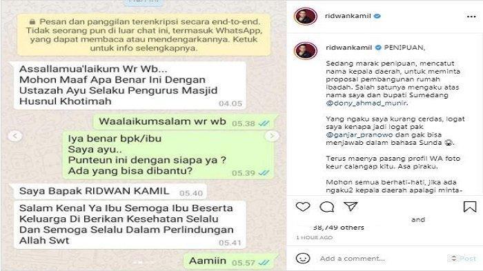 Gubernur Jawa Barat (Jabar) Ridwan Kamil menyoroti sebuah modus penipuan yang sedang marak mencatut nama-nama kepala daerah, Sabtu (10/7/2021).