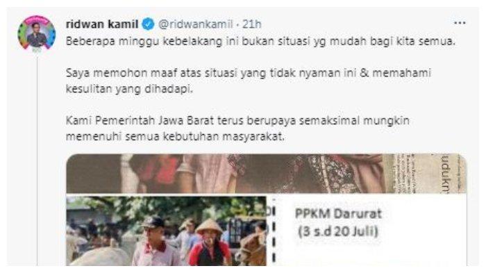 Gubernur Jawa Barat Ridwan Kamil meminta maaf ke publik Jabar terkait penanganan Covid-19, Senin (19/7/2021).