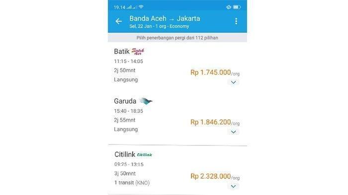 Harga tiket Batik Air, Garuda Indonesia, dan Citilink, Banda Aceh - Jakarta, untuk keberangkatan Selasa (22/1/2019). (Capture Situs Traveloka)