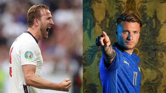 Harry Kane (kiri) pada postingan Instagram @harrykane pada 30 Juni 2021 dan Ciro Immobile pada postingan Instagram @euro2020 pada 20 Juni 2021. Duel dua striker haus gol milik Italia dan Inggris.