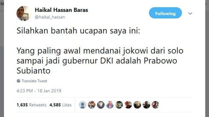 Capture Twitter @haikal_hassan, Jumat (18/1/2019)