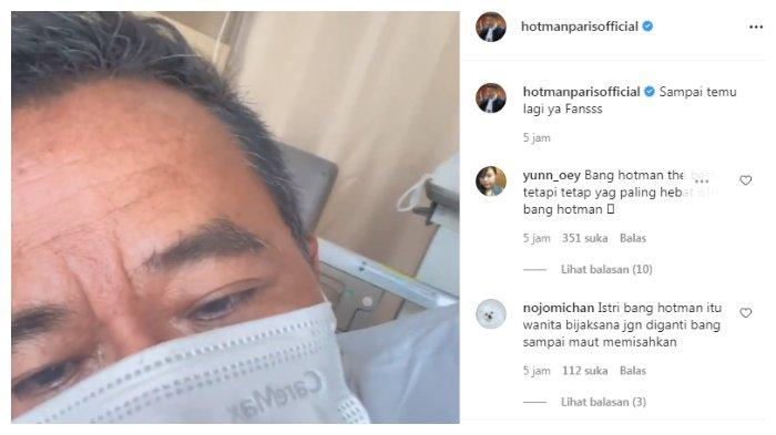 Hotman Paris dirawat di rumah sakit karena demam berdarah, Minggu (23/5/2021).
