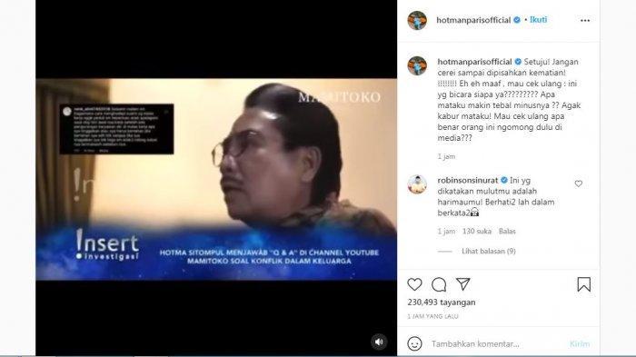 Hotman Paris mengunggah video lawas Hotma Sitompul dan memberi sindiran, Rabu (22/9/2021).
