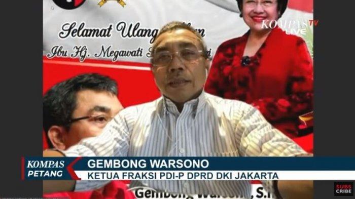 Ketua Fraksi PDIP DPRD DKI Jakarta, Gembong Warsono mengkritik Gubernur DKI Jakarta Anies Baswedan atas banjir yang terjadi di Jakarta sejak Jumat (19/2/2021) malam.
