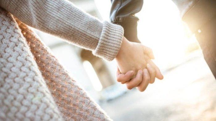 Ilustrasi pasangan bergandengan tangan