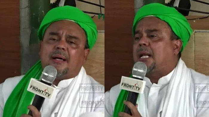 Imam Besar FPI Muhammad Rizieq Shihab alias Habib Rizieq memberikan sambutan kepada para pendukungnya setelah pulang dari Arab Saudi, Selasa (10/11/2020).