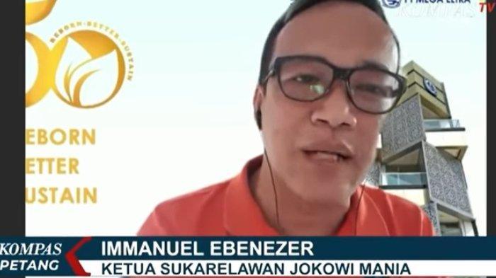 Ketua Relawan Jokowi Mania, Immanuel Ebenezer, menolak tuduhan pengacara Partai Demokrat Bambang Widjojanto (BW), Minggu (14/3/2021).
