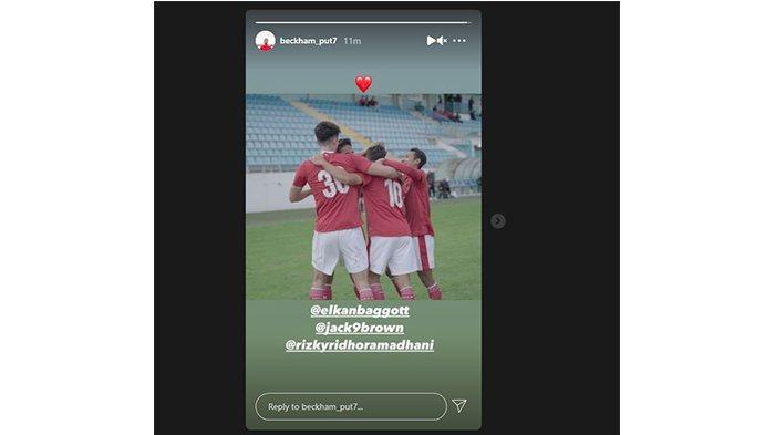 Instagram Story Beckham Putra saat berkostum Timnas Indonesia pada 18 Mei 2021.