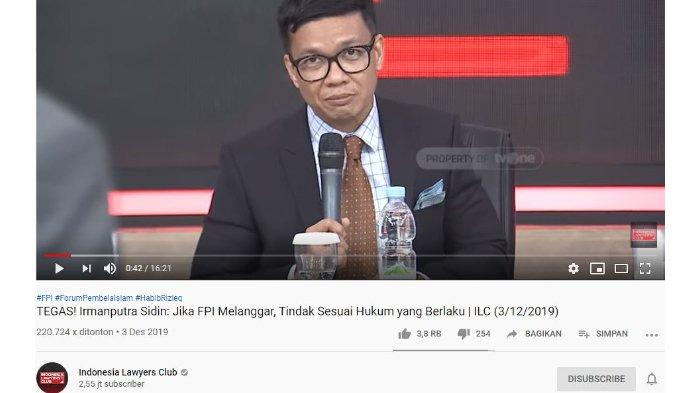 Di ILC, Irmanputra Siddin Bela Junimart Girsang yang Dituding Haikal Hassan Bangun Opini Buruk FPI