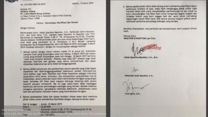 Isi surat somasi yang dilayangkan Mantan Politisi Partai Demokrat Andi Arief pada tvOne terkait program Indonesia Lawyers Club (ILC) yang mencantumkan namanya dalam topik diskusi ILC, Selasa (5/3/2019) lalu.