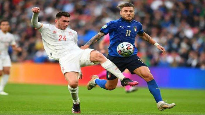 Laga semi final Euro 2020 Italia Vs Spanyol di babak pertama pada Website UEFA Rabu (7/7/2021). Duel Immobile dan Laporte.