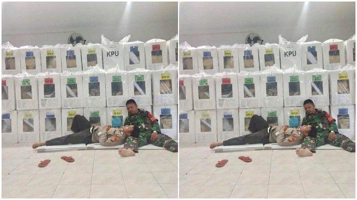 Anggota Polri dan TNI tidur di lantai beralaskan kardus saat jaga kotak suara.