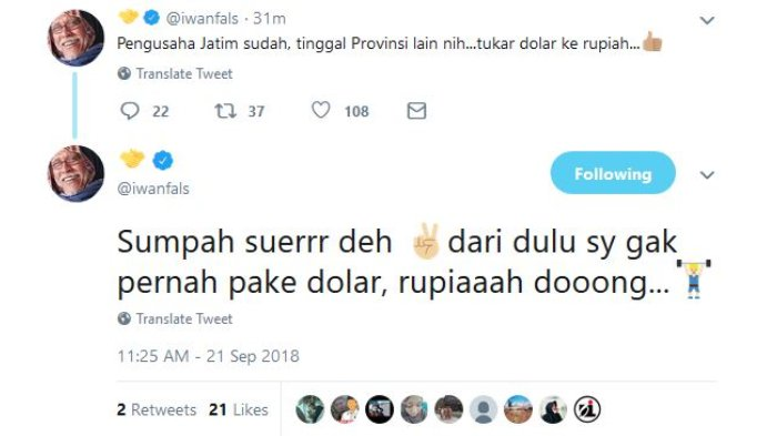 Unggahan Iwan Fals pada Twitter