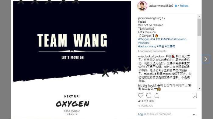 Jackson Wang GOT7 batal merilis lagu 'Faded', Selasa (19/3/2019).