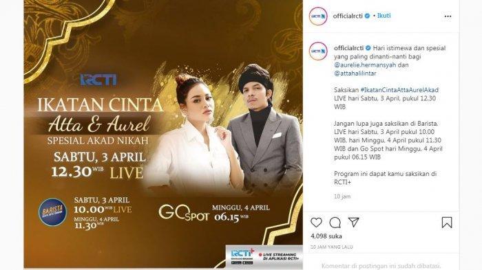 Jadwal live akad nikah Atta Halilintar dan Aurel Hermansyah, Sabtu (3/4/2021).