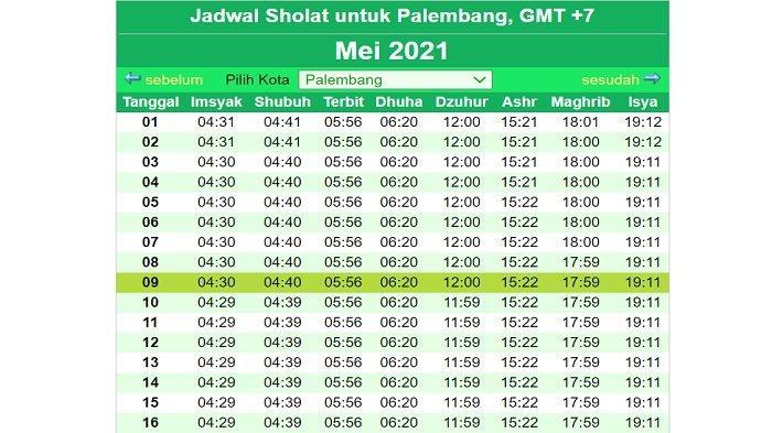 jadwal salat, imsakiyah, buka puasa di Palembang Mei 2021