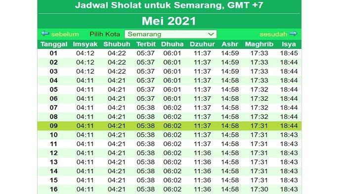 jadwal salat, imsakiyah, buka puasa di Semarang Mei 2021