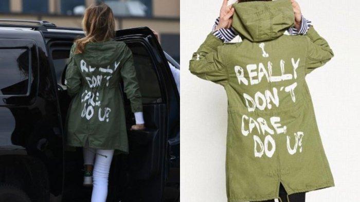 Jaket yang dipakai oleh Melanie Trump saat mengunjungi Miran AS-Meksiko