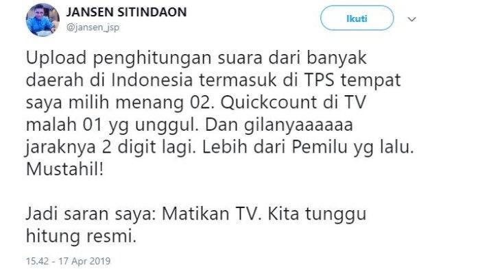 Juru Bicara Badan Pemenangan Nasional (BPN) Prabowo Subianto-Sandiaga Uno, Jansen Sitindaon mempertanyakan hasil perhitungan cepat (quick count) yang menangkan pasangan calon 01, Joko Widodo (Jokowi)-Ma'ruf Amin.