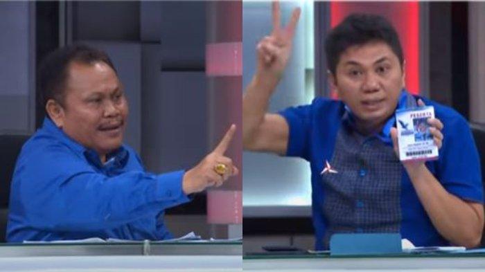Wakil Sekjen Partai Demokrat, Jansen Sitindaon (kanan) berdebat dengan Eks kader Demokrat Jhoni Allen Marbun (kiri), Demokrat. Ditayangkan dalam acara Mata Najwa, Rabu (3/3/2021) malam.
