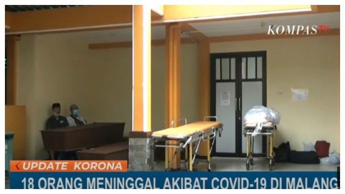 Tangkapan layar - Jenazah pasien Covid-19 di RSSA Malang berjejer hingga teras, Senin (28/6/2021).