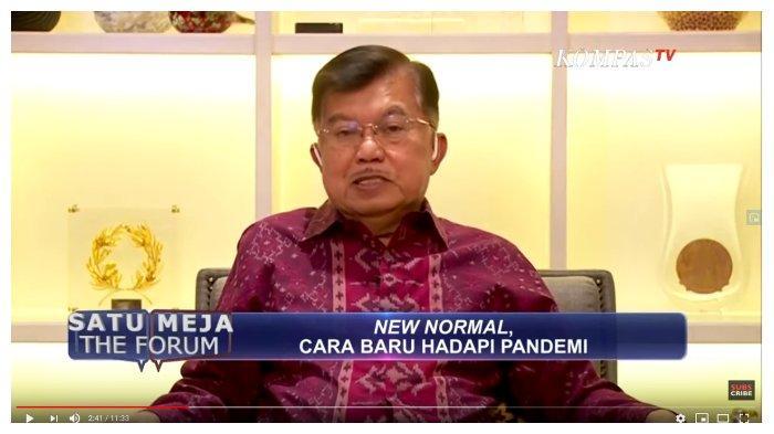 Mantan Wakil Presiden, Jusuf Kalla (JK) dalam kanal YouTube Kompas TV, Rabu (20/5/2020). JK secara blak-blakan menyebut pemerintah mengentengkan Virus Corona sejak awal muncul di Indonesia.