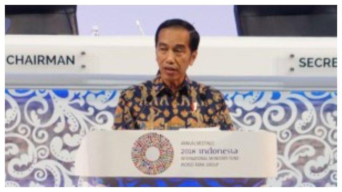 Jokowi dalam pidatonya di Annual Meetings Plenary, IMF-WBG Annual Meetings 2018 di Nusa Dua, Bali, Jumat (12/10/2018).