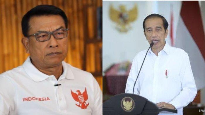 Kolase foto Presiden Joko Widodo (Jokowi) (kanan), dan Kepala Kantor Staf Presiden (KSP) Moeldoko (kiri). Jokowi didesak bersikap tegas terhadap Moeldoko soal konflik Partai Demokrat.