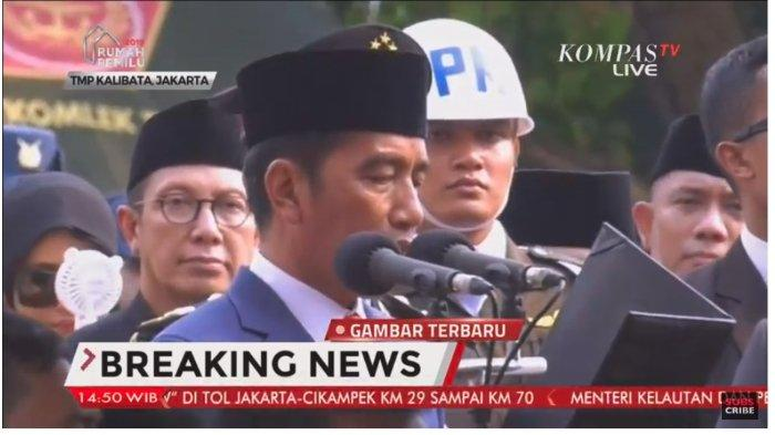 Pidato Lengkap Jokowi sebagai Inspektur Upacara Pimpin Prosesi Pemakaman Ani Yudhoyono, Minggu (2/6/2019).