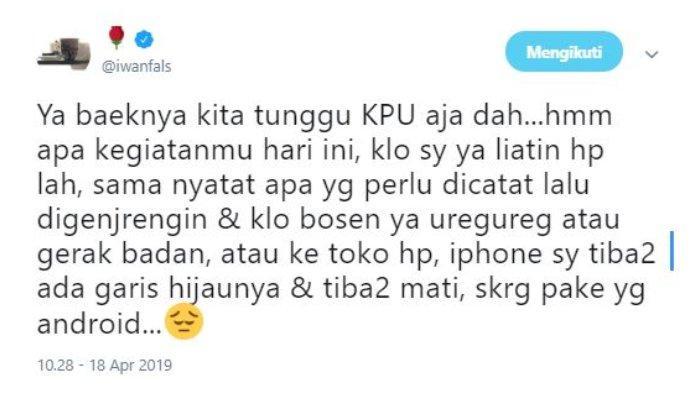 Jokowi-Ma'ruf Menang versi Hitung Cepat, Iwan Fals: Baiknya Kita Tunggu KPU Aja Deh