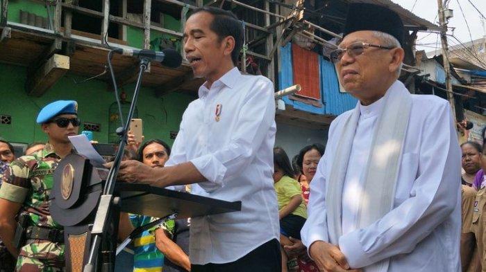 Jokowi-Maruf saat menyampaikan pidato kemenangan di Kampung Deret, Jakarta, Selasa (21/5/2019).