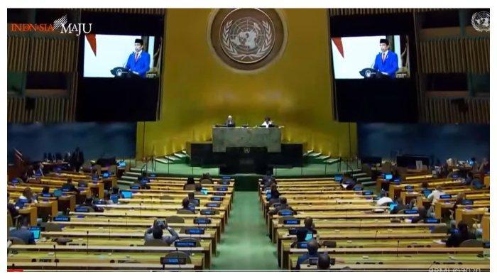 Suasana Sidang Majelis Perserikatan Bangsa-Bangsa (PBB), dikutip dari tayangan Youtube Sekretariat Presiden, Rabu (23/9/2020).