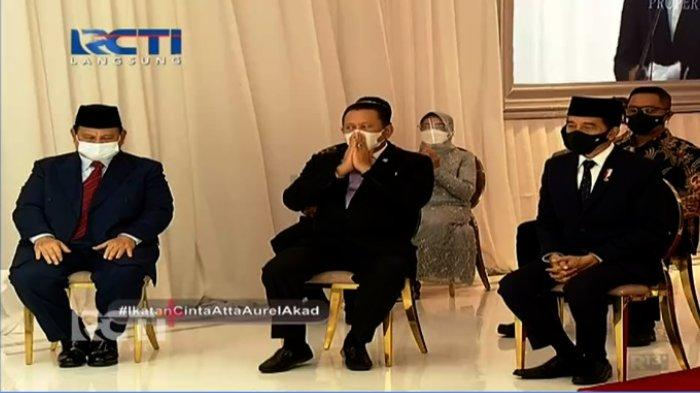 Presiden Joko Widodo (Jokowi), Menteri Pertahanan Prabowo Subianto, dan Ketua MPR Bambang Soesatyo di pernikahan Atta Halilintar dan Aurel Hermansyah, Sabtu (3/4/2021)
