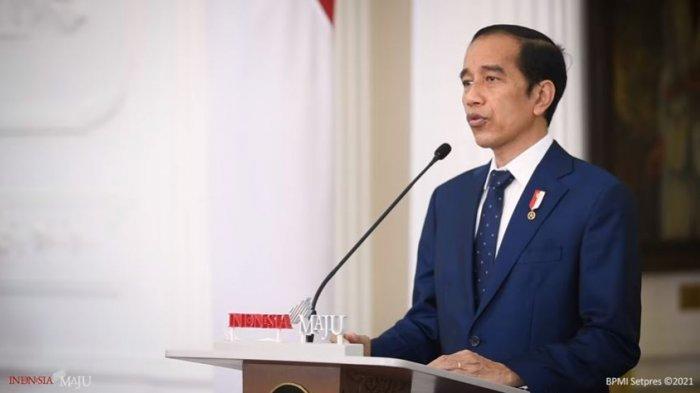 Presiden RI Joko Widodo (Jokowi) memaparkan soal perkembangan proses vaksinasi Covid-19 di Indonesia saat memberikan sambutan dalam acara 'International Conference on Tackling the Covid-19 Pandemic', Selasa (23/2/2021).