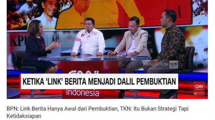 Juru Bicara Hukum Badan Pemenangan Nasional (BPN) Prabowo Subianto-Sandiaga Uno, Hendarsam Marantoko (kedua dari kanan) saat menjadi narasumber di CNN Indonesia, seperti tampak dalam saluran YouTube CNN Indonesia, Selasa (28/5/2019).