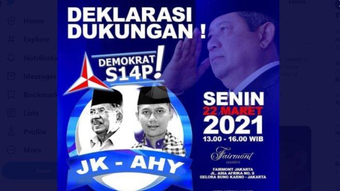 Beredar poster Jusuf Kalla (JK) berpasangan dengan Agus Harimurti Yudhoyono (AHY) dalam Pilpres 2024.