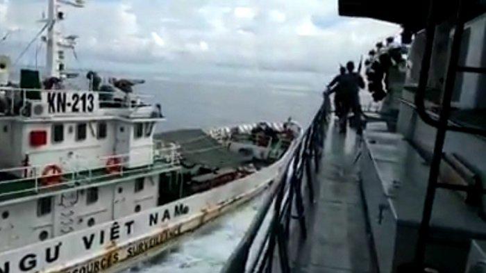 Pernyataan Resmi TNI AL terkait Video Viral Kapal Vietnam Tabrak Kapal Perang Indonesia