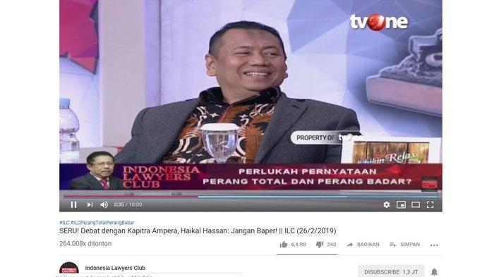 Reaksi Kapitra Amperasaat mendengarkan pernyataan Haikal Hassan, Selasa (26/2/2019).